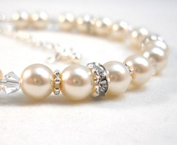 Flower Girl Bracelet Ivory Pearls Swarovski Crystals Childrens Wedding Jewelry