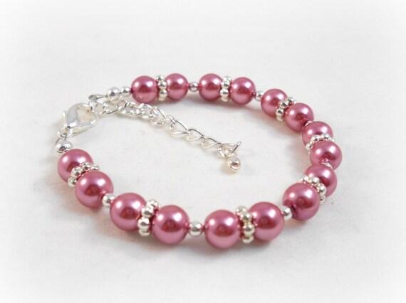 Pink Pearl Bracelet for Little Girls Raspberry Pink