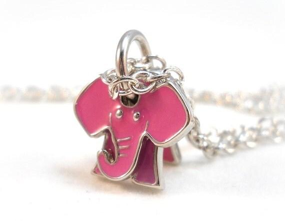 Pink Elephant Necklace Kids Jewelry