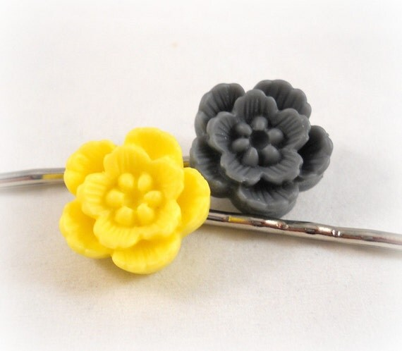 Yellow and Gray Grey Hair Accessories Flower Hair Pins