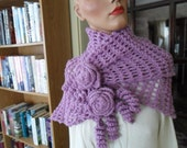 New(Ready to Ship) Crochet Wrap - Capelet - Shawl - Scarf - Roses - Wedding - Mothers Day -  Accessories ''ROSES AND LACE'' in Lavender