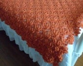 New(Ready to Ship) Crocheted Afghan - Blanket - Throw - Coverlet - Bedspread - XLarge   '''SPRING BUD'''   in Paprika