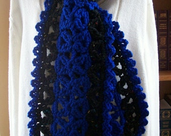 Crocheted  Scarf - Wrap -  Cowl - Shawl - Accessories - Womens Wear  ''VANNA''  in Cobalt Blue and Black Tweed