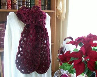 Crocheted Scarf - Cowl - Wrap - Shawl -  Cape - Womens Wear - Accessories   ''VANNA''    in Claret Fleck