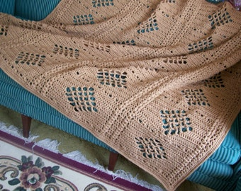 New(Ready to Ship) Crocheted Afghan - Blanket - Throw - Bedspread - XLarge  ''DIAMONDS DESIGN''   in Soft Brown