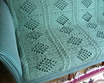 New(Ready to Ship) Crochet Afghan - Blanket - Throw - Bedspread - Coverlet - XLarge  ''DIAMONDS DESIGN''   in Aruba Sea