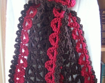 New(Ready to Ship) Crocheted Scarf - Wrap - Cowl - Neckwear ''VANNA'' Accessories -  Women's Wear in Dark Brown and Barn Red