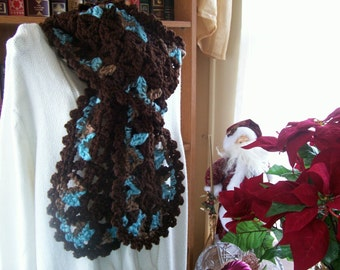 """Crocheted  Scarf """"VANNA""""  Accessories -  Women -  Wrap -  Shawl -  Outerwear in Dark Brown and Turquoise"""