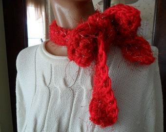 Crocheted Scarf -  Fun Fur -  Skinny Scarf - Accessories - Women  - Cozy -  Outerwear in Red