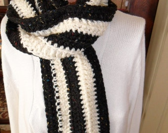 New(Ready to Ship) Crocheted Scarf - Wrap - Cowl - Neckwear  ''AUDREY''  in Off-white and Black Tweed