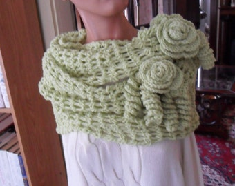 Crocheted Wrap - Scarf - Capelet - Shawl - Accessories - Womens Wear  ''ROSES AND LACE''   in Soft Fern