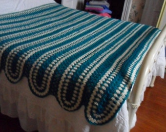 Crocheted Afghan - Blanket - Bedspread - Throw - Coverlet  ''STRIPED PANELS''   in Teal and Cream
