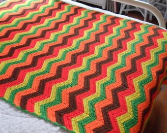 New(Ready to Ship) Crocheted  Afghan -  Coverlet -  Throw - Afghan -  Blanket - Bedspread - Accessories ''RIPPLES'' in Multi-Colors