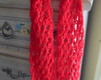 Crocheted Scarf - Wrap - Cowl - Shawl - Cape - Accessories - Women's Wear  ''ALLIE''  in Red