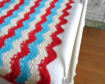 New(Ready to Ship) Crocheted Afghan  -  Coverlet - Throw - Blanket - Bedspread - Large  ''OCEAN WAVES''  in Aqua-Red-Off-white
