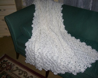 "Crocheted Afghan - Blanket - Bedspread - Throw -  XLarge   ""SPRING BUD""   in  White"