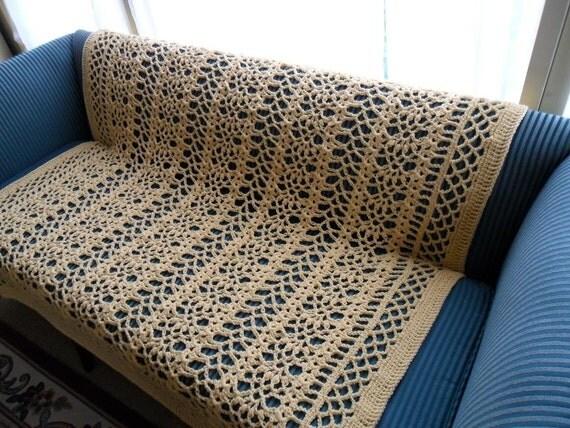 New(Ready to Ship) Crochet Afghan, Crochet Blanket, Crochet Bedspread, XLarge ''BOUDOIR'' in Buttercup Yellow