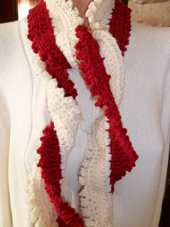 New(Ready to Ship) Crocheted Scarf - Wrap - Cowl -  Accessories - Women Wear  ''SPIRALS''  in Red and White