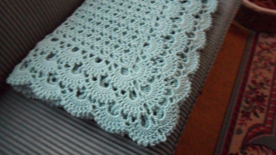 "New(Ready to Ship) Crochet Afghan (California King 116in. X 82in.) -  Blanket - Bedspread - Throw  ""SHELLS GALORE""  in Soft Aqua"