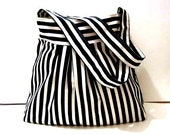 Black and White Stripe-Shoulder Bag-Pleated-Double Straps - marbled