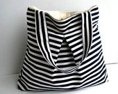 Tote bag-Black and White Stripe-Double Straps-Large