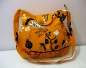 Shoulder Bag-Diaper Bag-Messenger Bag-PleatedOrange-Adjustable to Straps