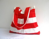 Tote Bag-Double Straps-Large-6 Large Pockets-Red and White