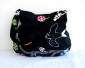 Black Birds-Zipper Closure and Fastener Snap Closure-Pleated Bag-Adjustable to Straps