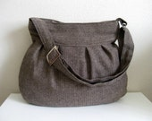 Wool Bag-Pleated-Brown-Pleated-Adjustable to Straps-Zipper Clouse