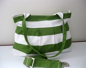 Green Bag-Pleated Bag-Large-Double Straps and Adjustable to Straps-6 Large Pockets-Zipper Clouse