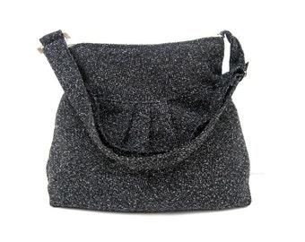 New-Shoulder Bag-Wool-Black and Gray