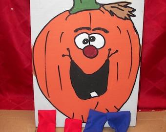 Mr  Big smile Pumpkin bean  hole  game   with 4 bean bags
