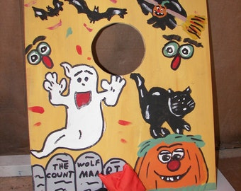 Booo  Halloween   bean  hole  game   with 4 bean bags