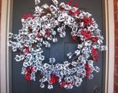 SALE FREE SHIPPING-Let it Snow Christmas Berry Wreath
