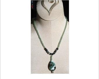 Moss Agate Teardrop Pendant Necklace
