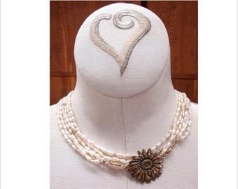 Sunflower and pearl Necklace