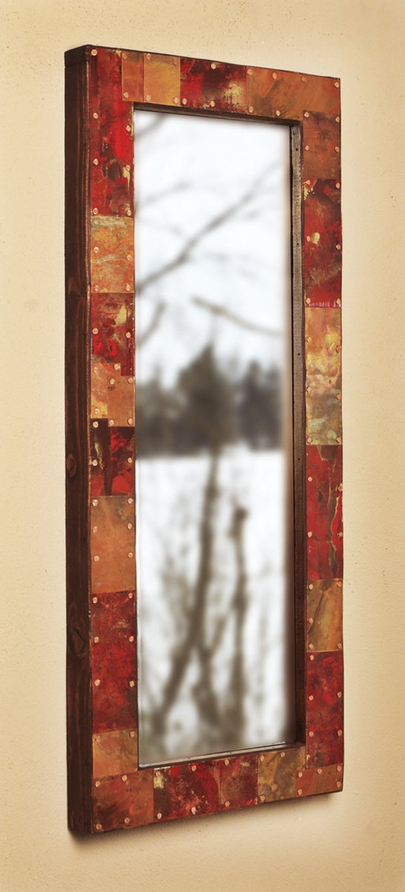 28x12 Metal and Copper Mirror