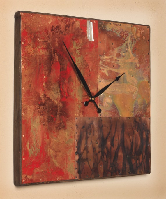 19.5 inch Square Copper and Metal Clock