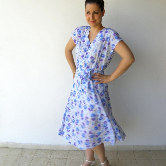 Vintage 1980s Does 1940s Indigo and Steel Blue Floral Dress