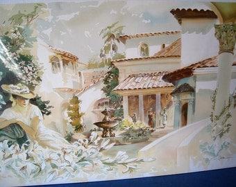 Spanish Courtyard Watercolor Print
