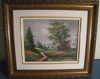 Framed Meadows & Stream Landscape - Giclée Print