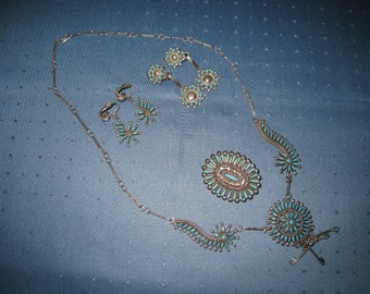 REDUCED --  6 piece Zuni Turquoise Jewelry Set