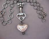 Key To My Heart, Necklace, Vintage Key, Heart, Hill Tribe, Silver, Handmade, Valley Creek Boutique