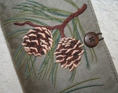 Pine Cone Embroidered Book Cover