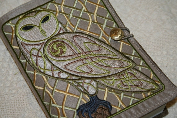 Celtic Owl Embroidered  Book Cover