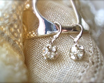 Vintage Earrings Rhinestone Romantic Bride Wedding Day Made Out of Buttons