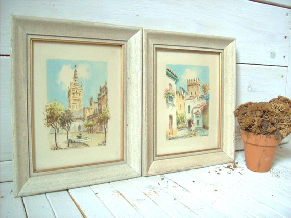 Shabby Cottage Framed Watercolor Pictures