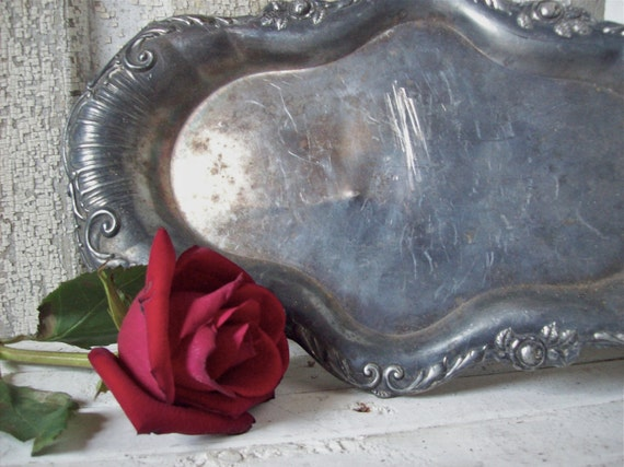 Vintage Silver Tray Shabby Chic French Country Serving Tray