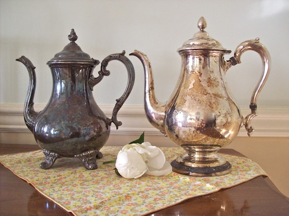 Reserved Vintage Silver Plate Coffee Pot Shabby Chic French Country Tarnished Antique Serving Your Choice