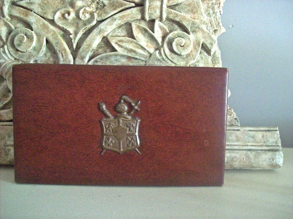 Mens Jewelry Box Vintage Swank Faux Leather with Brass Trim